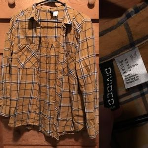 Yellow plaid H&M button up
